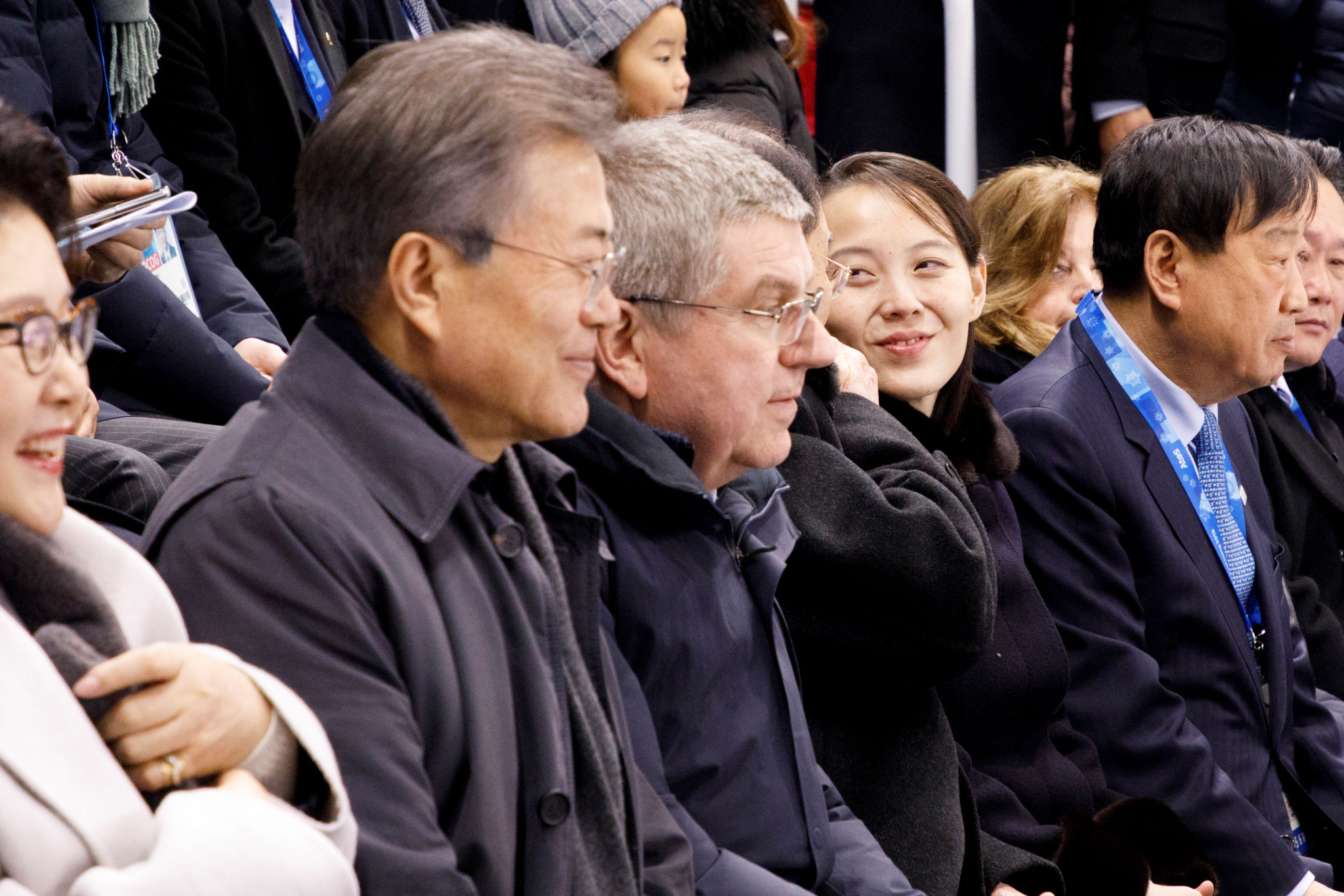 The historic first match of the unified Korean team at Pyeongchang 2018 was watched by high-level officials including South Korean President Moon Jae-in and Kim Jong-un's sister Kim Yo-jong ©Getty Images