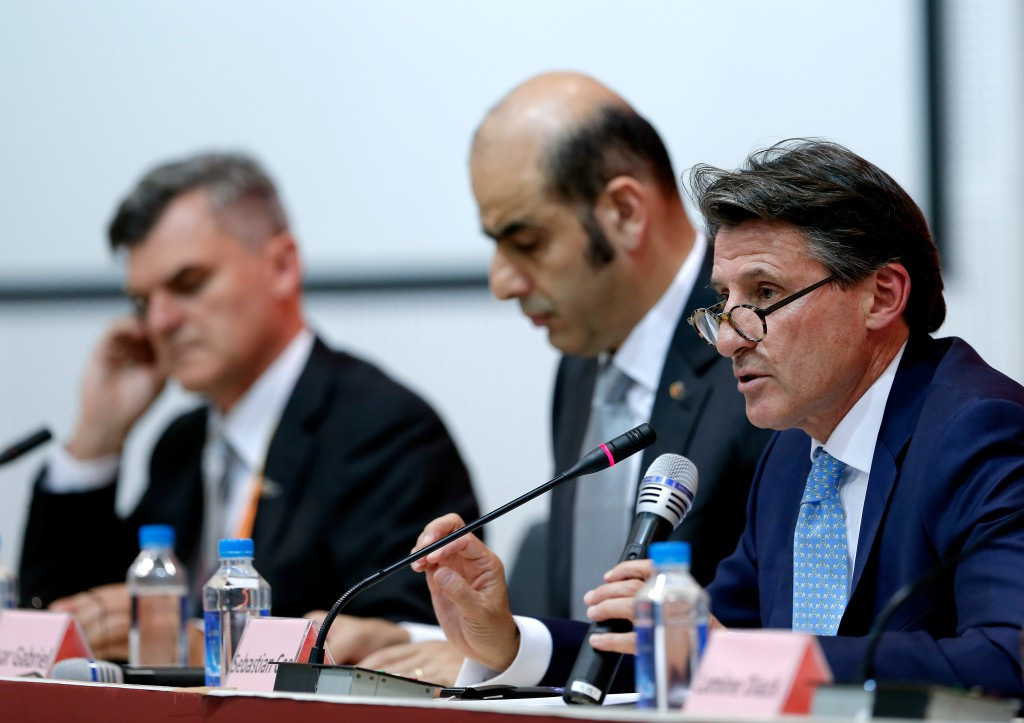 Sebastian Coe (right), IAAF President Elect, speakng in Beijing at today's closing press conference ©Getty Images
