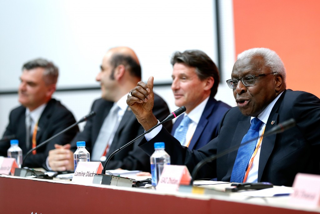 Lamine Diack (right) was performing one of his final duties as IAAF President ©Getty Images
