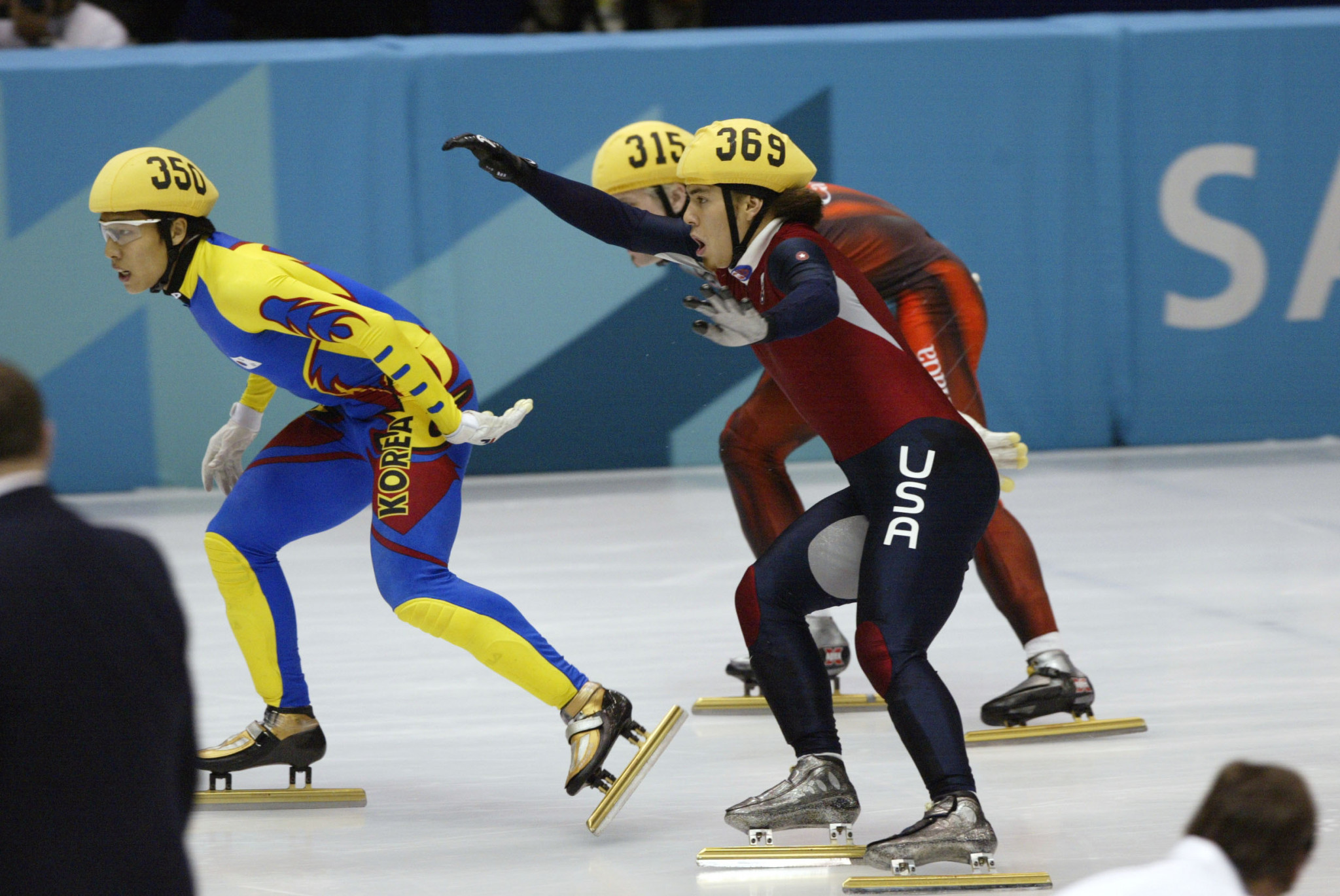 American Apolo Anton Ohno, right, successfully appeal after being