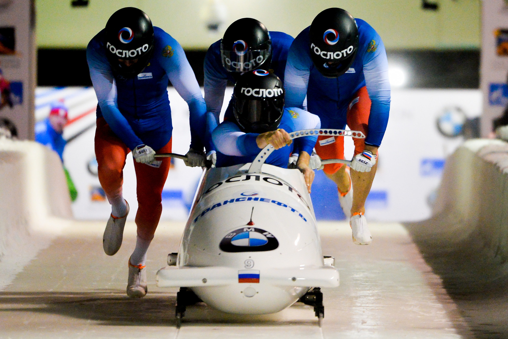 Maxim Andrianov is a member of the Russian four-man bobsleigh team pictured competing at a World Cup event ©Getty Images