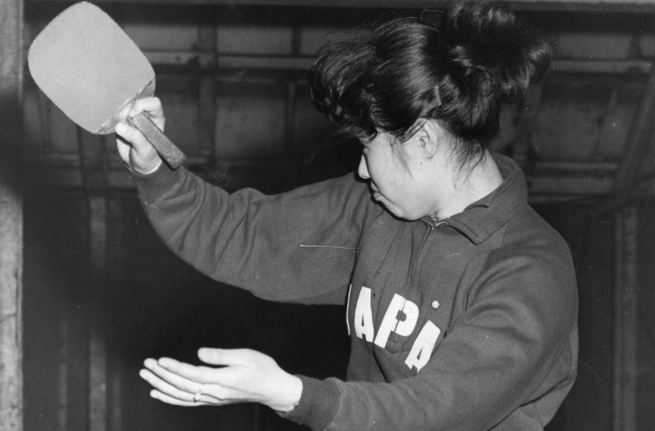 Japanese table tennis player Fujie Eguchi, the women's world singles champion, in action during the closing stages of the British Open Table Tennis Championships at Wembley in 1957, demonstrating the penholder grip ©Getty Images