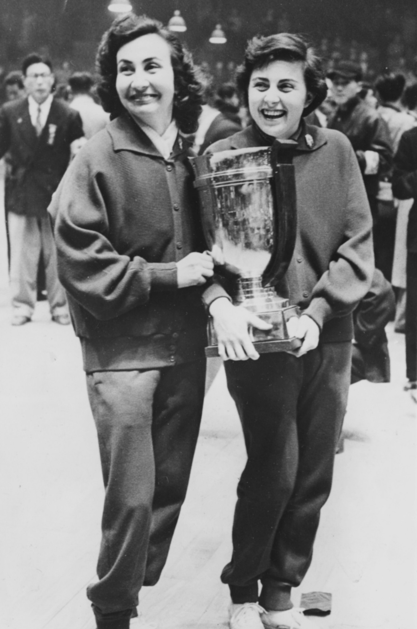 Romania's Angelica Rozeanu, left, was the last non-Asian winner of the women's world singles title - in 1955 ©Getty Images