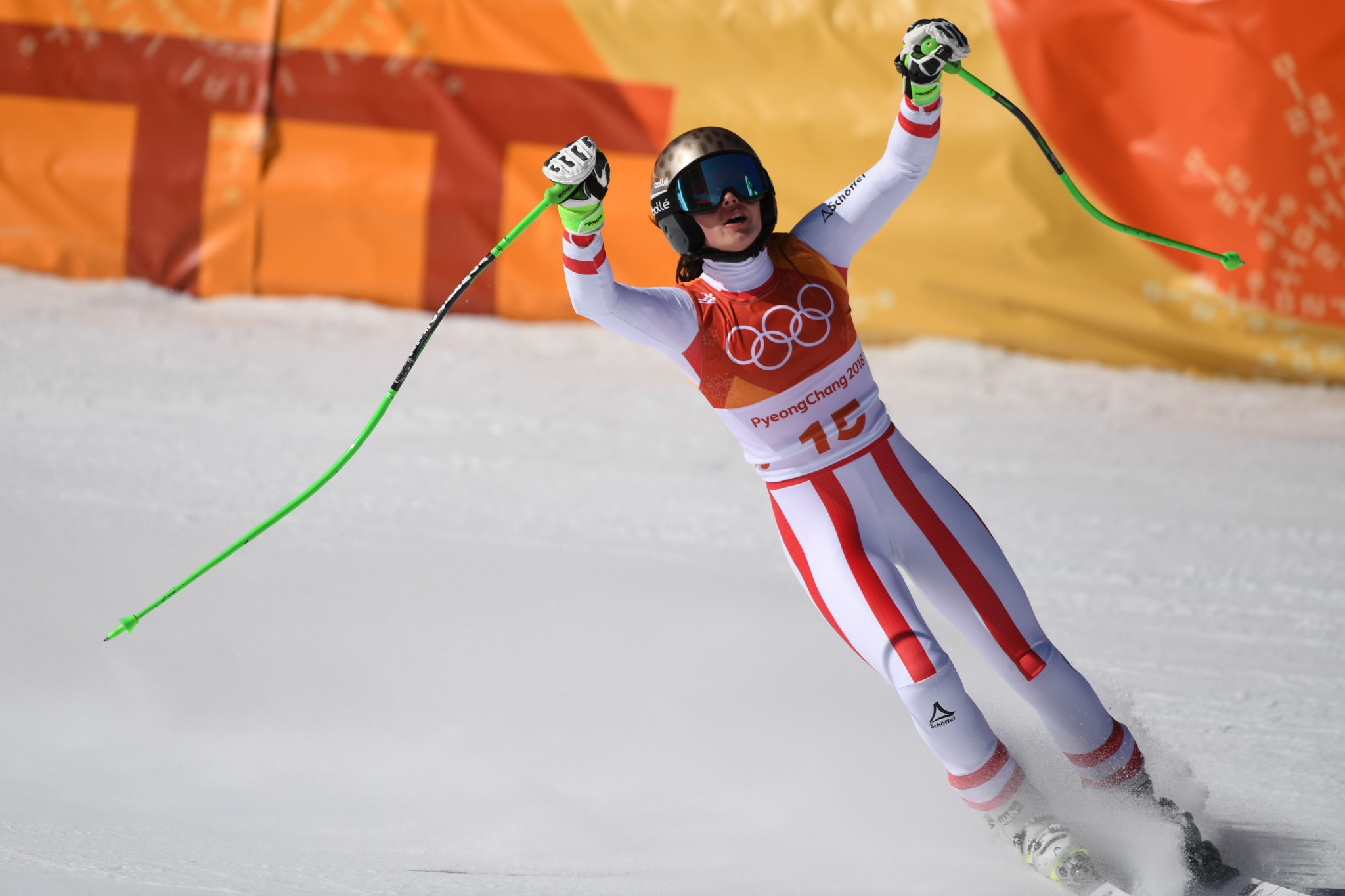 Austria's Anna Veith was convinced she had successfully defended her Olympic title after crossing the finish line ©Getty Images