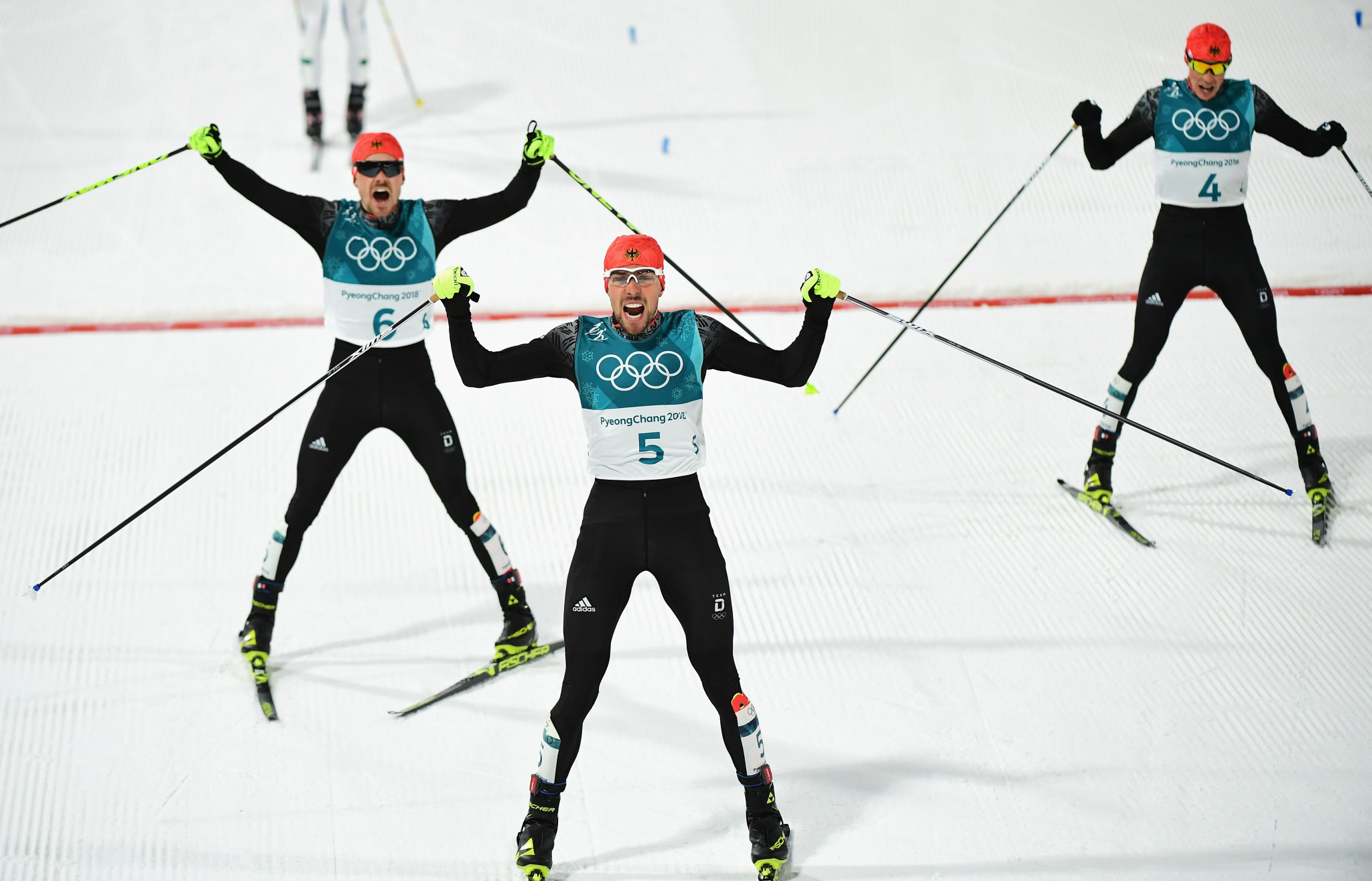 World champion Johannes Rydzek led a German one-two-three finish in the Pyeongchang 2018 Nordic combined individual Gundersen large hill/10 kilometres event ©Getty Images