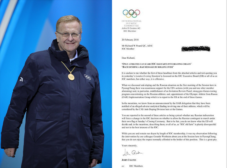 A copy of the letter John Coates, seen at Pyeongchang 2018, has sent to senior IOC member Richard Pound complaining about an interview he gave to the Evening Standard in London about Russia ©Getty Images/ITG