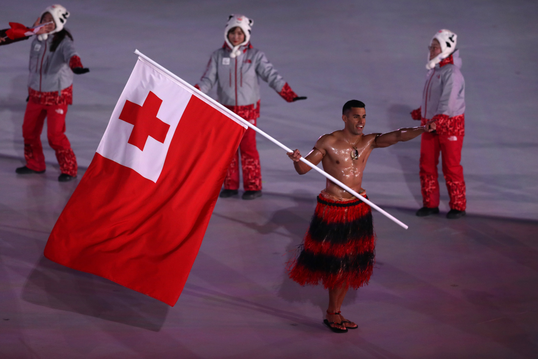 Pita Taufatofua appeared at the Pyeongchang 2018 Opening Ceremony as he did at Rio 2016 ©Getty Images