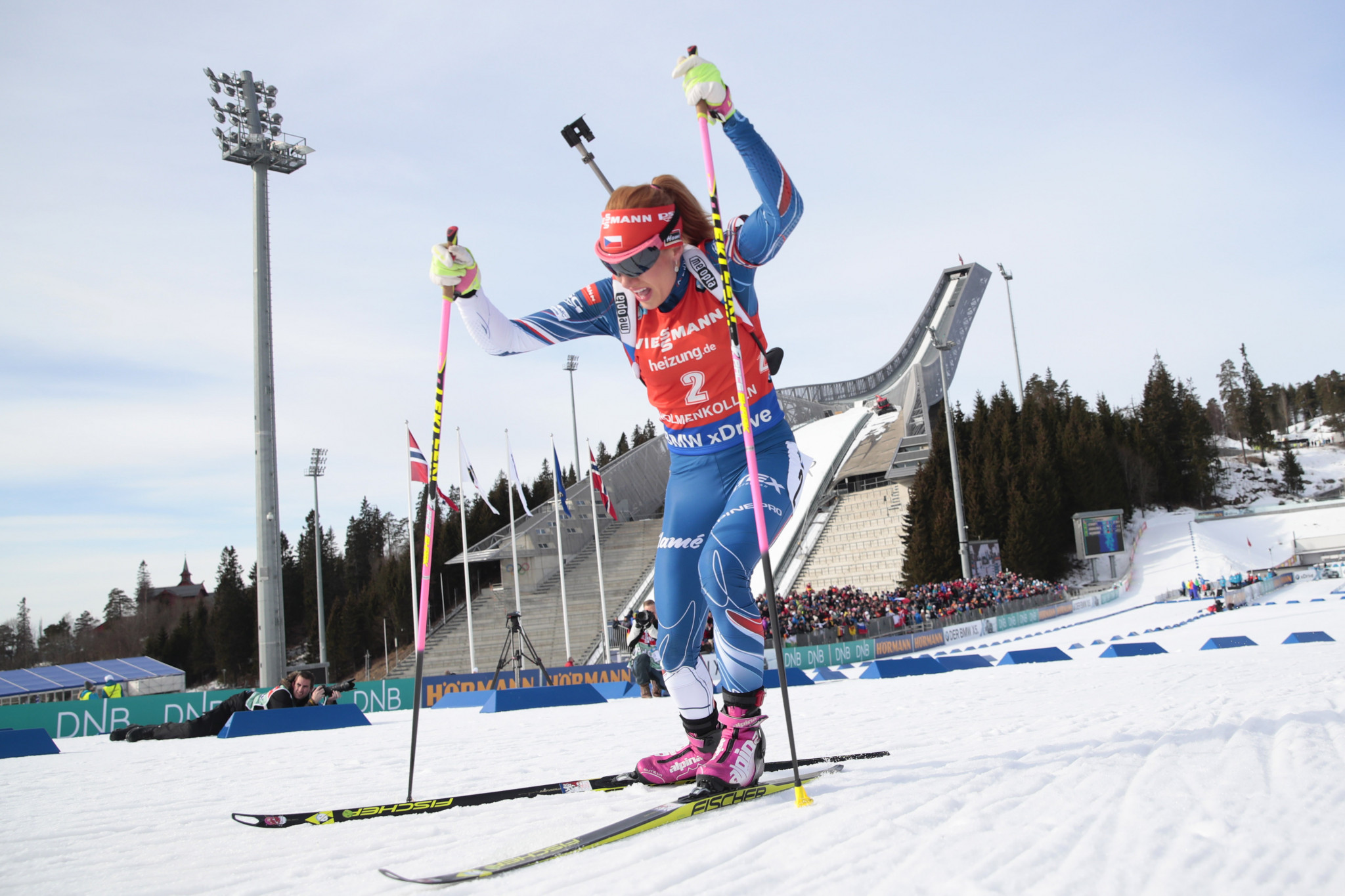 Gabriela Koukalová of the Czech Republic was subjected to online threats after Russia were stripped of their Sochi 2014 relay silver medal following doping claims ©Getty Images