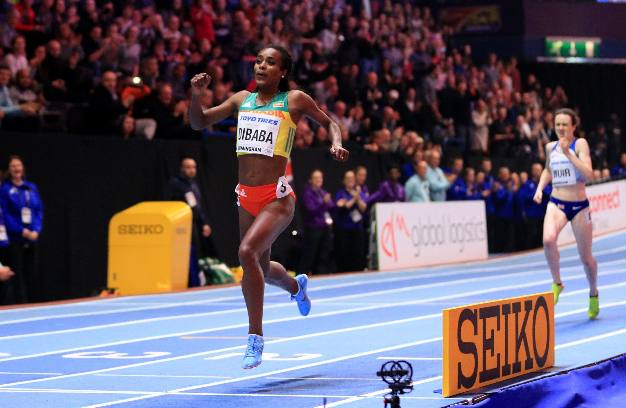 Ethiopia's Genzebe Dibaba won her second gold medal at the IAAF World Indoor Championships, adding the 1500m to the 3,000m she won last night as Britain's Laura Muir finished second ©Getty Images
