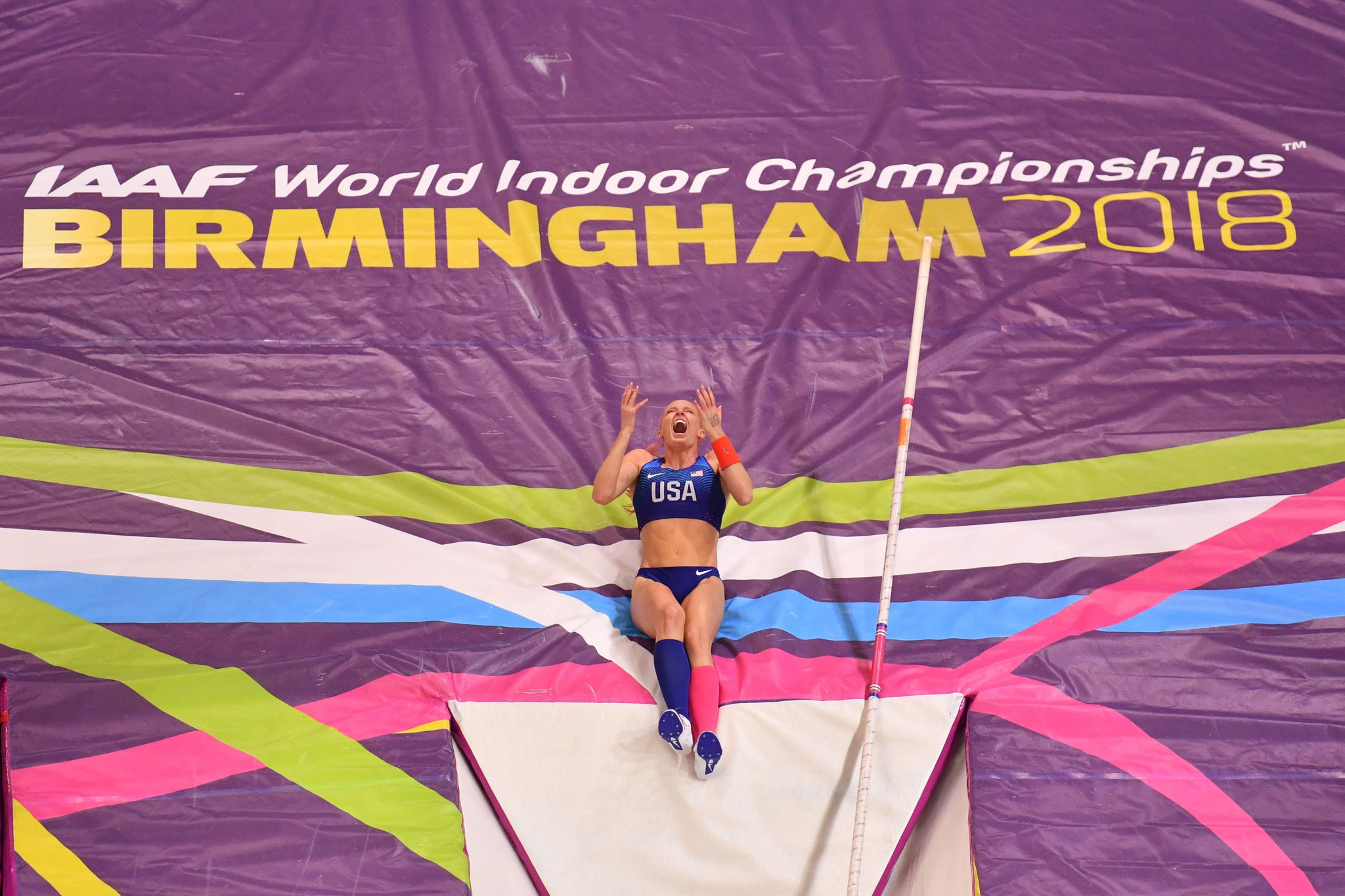 The United States Sandi Morris won an enthralling pole vault competition ©Getty Images
