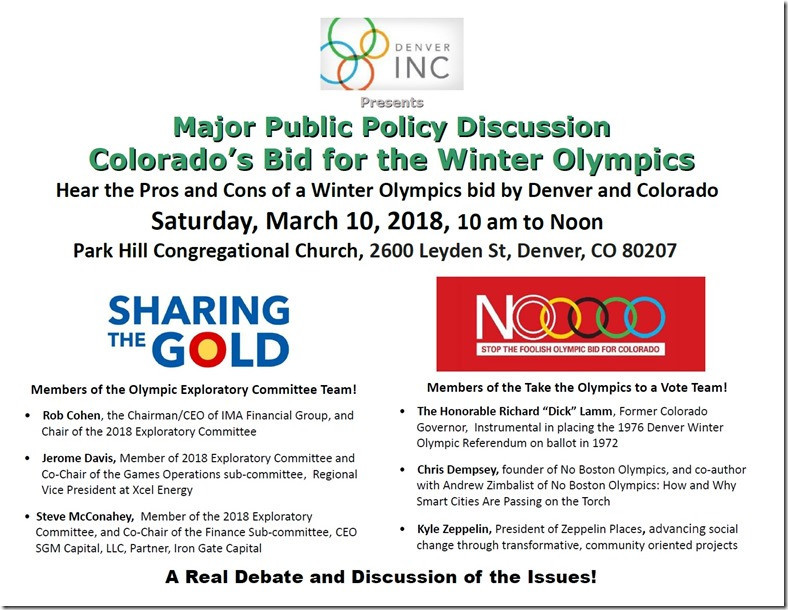No Boston Olympics co-chairman to speak at public debate on possible Denver bid for 2030 Winter Games